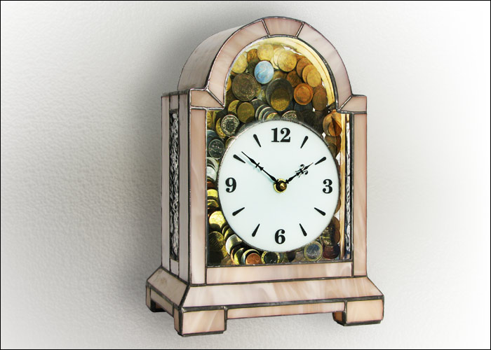 Stained Glass Money Box Clock Nr. 4818, Tiffany technique